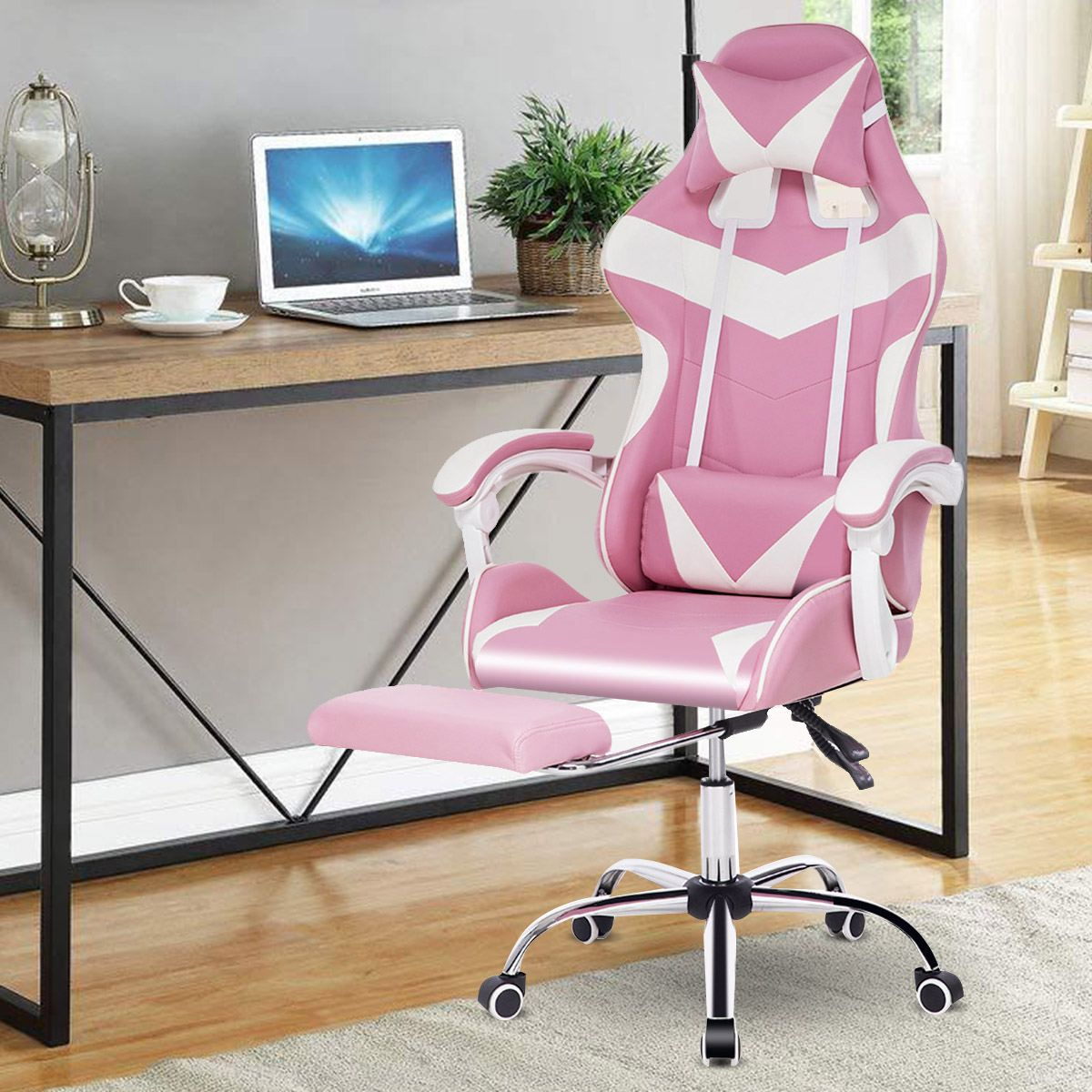 H695f5cd580204d839f44cc8805e3fa430 - Office Computer Chair WCG Gaming Chair Pink Silla Leather Desk Chair Internet Cafe Gamer Chair Household Armchair Office Chair
