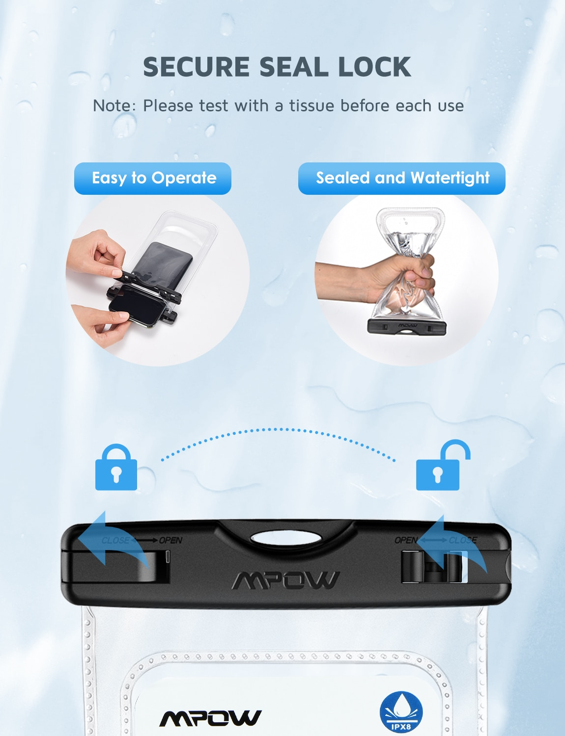 H6a169aa9688645e5beebb57248acb9e7J - 2PCS Mpow 097 IPX8 Waterproof Phone Bag Pouch Case Universal for 7.0 inch Phones Home Button Cutout Take Photo Underwater IP68
