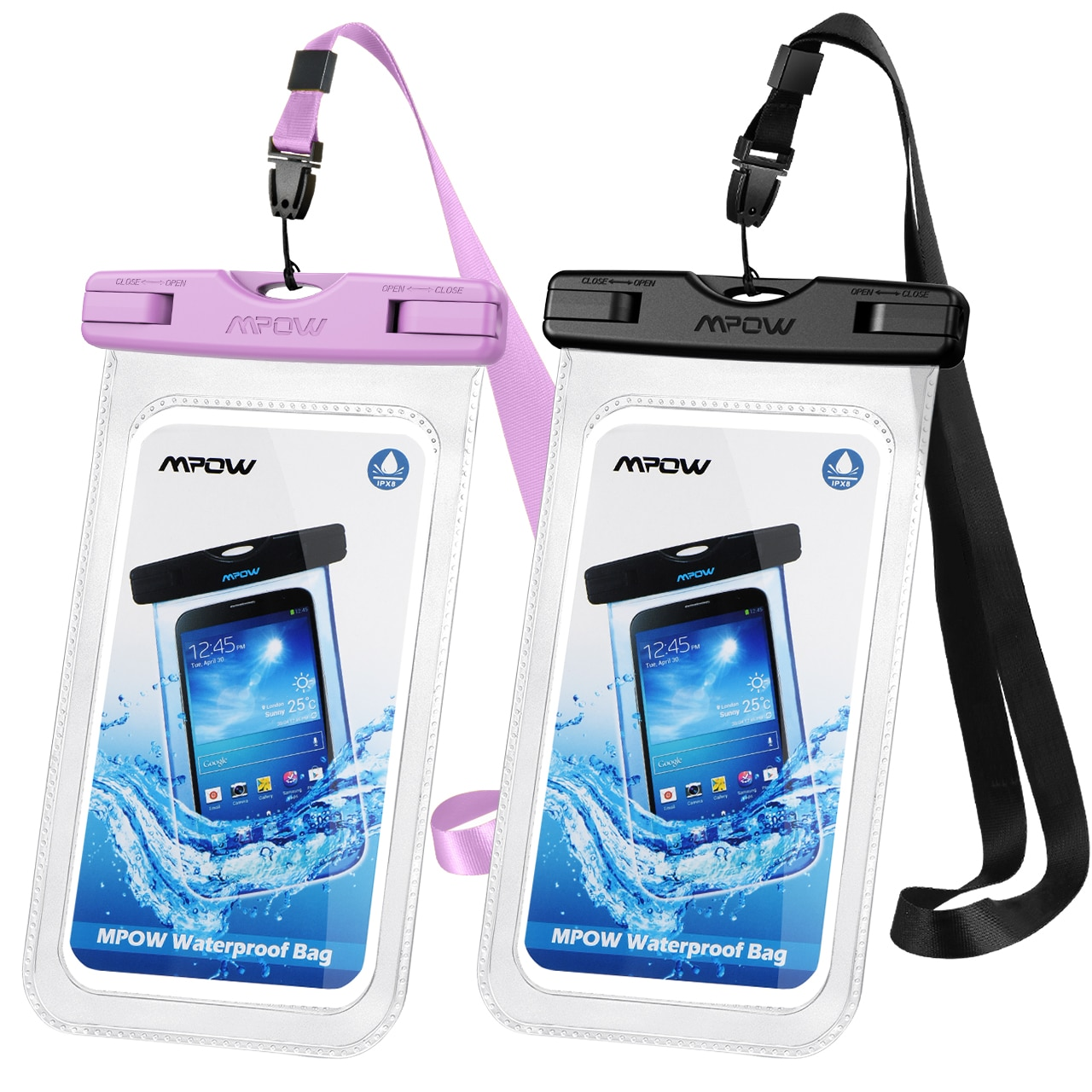 H6e01c7795708498c86395964203bdc34O - 2PCS Mpow 097 IPX8 Waterproof Phone Bag Pouch Case Universal for 7.0 inch Phones Home Button Cutout Take Photo Underwater IP68