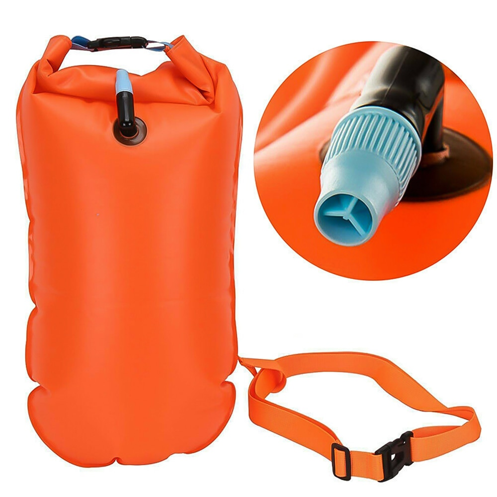 H6ec860c23b1b451a8ebfd22a45844681J - 1pc Float Swimming Bag Floating Inflated Buoy Air Dry Bag Safety Storage Bag with Waist Belt for Rescue Swimming Water Sport