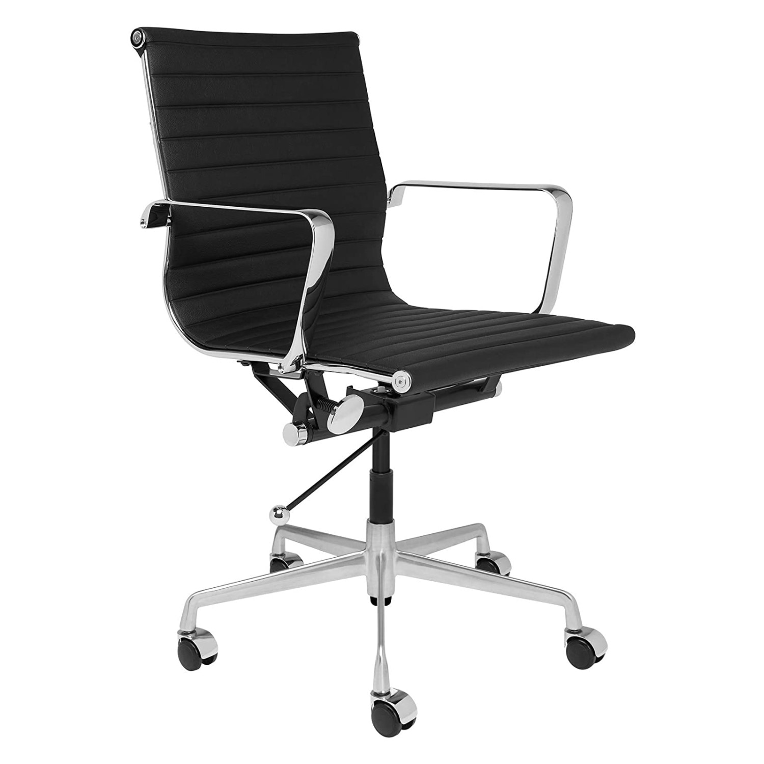 H6f19bf0cb6f449d3bb1504b5b200383b2 - Furgle Executive Office Chair Mid Back PU Leather with Arms Rest Tilt Gaming Chair Adjustable Height with Wheels Swivel Chairs