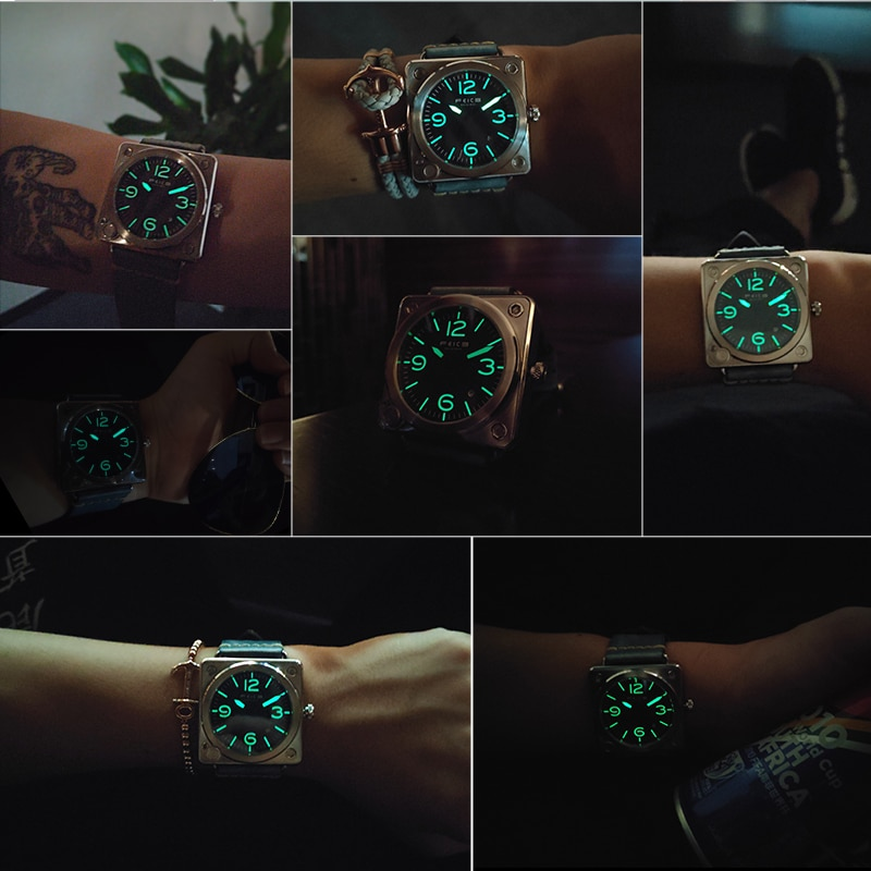 H7077f60c05864aebae1a70828a0fe3499 - FEICE Men's Square Automatic Watch Waterproof Mechanical Watch Luminous Analog Wrist Watches for Men -FM508
