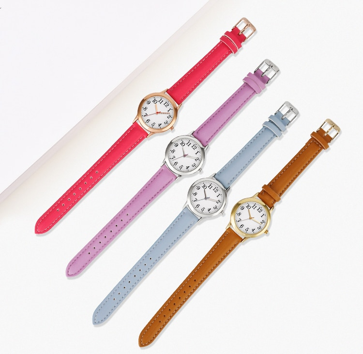 H708a1c67859b48c795ec11298d837362t - Japanese Movement Women Quartz Watch Easy to Read Arabic Numerals Simple Dial PU Leather Strap Lady Candy Color