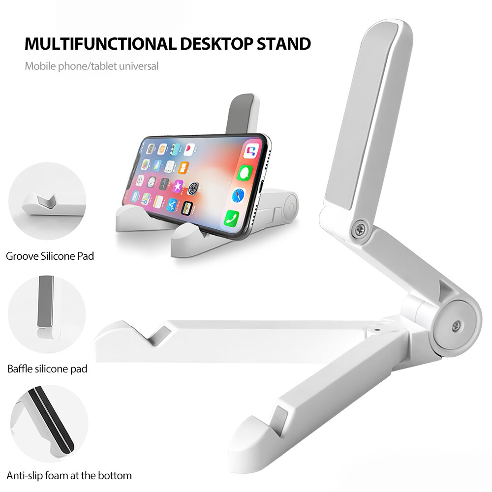 H70e29add969845d9b5a29b3d6d71e469Y - Mobile Phone Holder Tablet Computer Support Folding Triangle Bracket Desktop Stand Portable Multi Use for Smartphone iPad Office