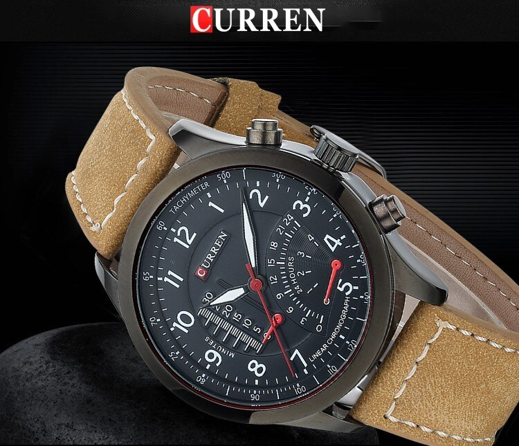 H716219c2f7864acb8a34a72573deaa3aE - CURREN Hot Brand Luxury Men Watches Leather Strap Waterproof Sports Quartz Wristwatch for Men Watches Male Clock reloj hombre