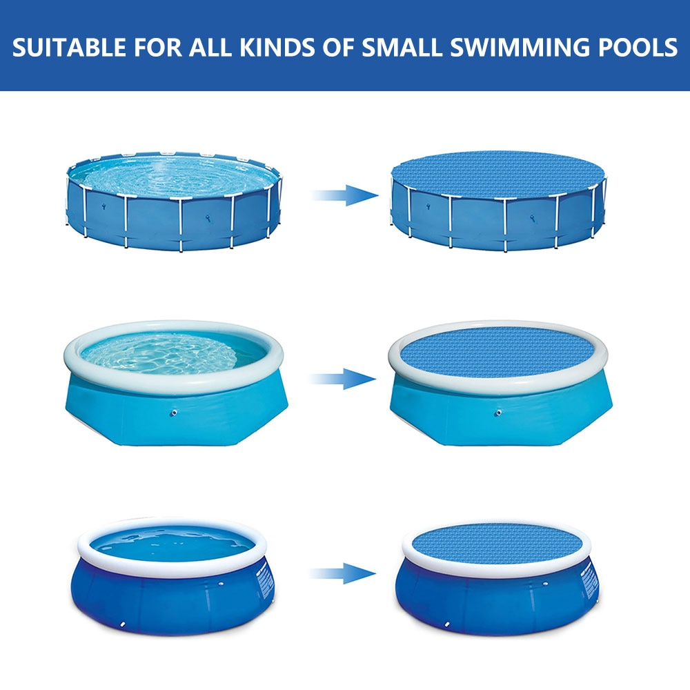 H72d6c9793f35491aa9b036478e0ccb52N - Swimming Pool Solar Heat Shield Dustproof Cover Round Pool Protector Cover Frame Pool Mat Cover Pool Film Accessories