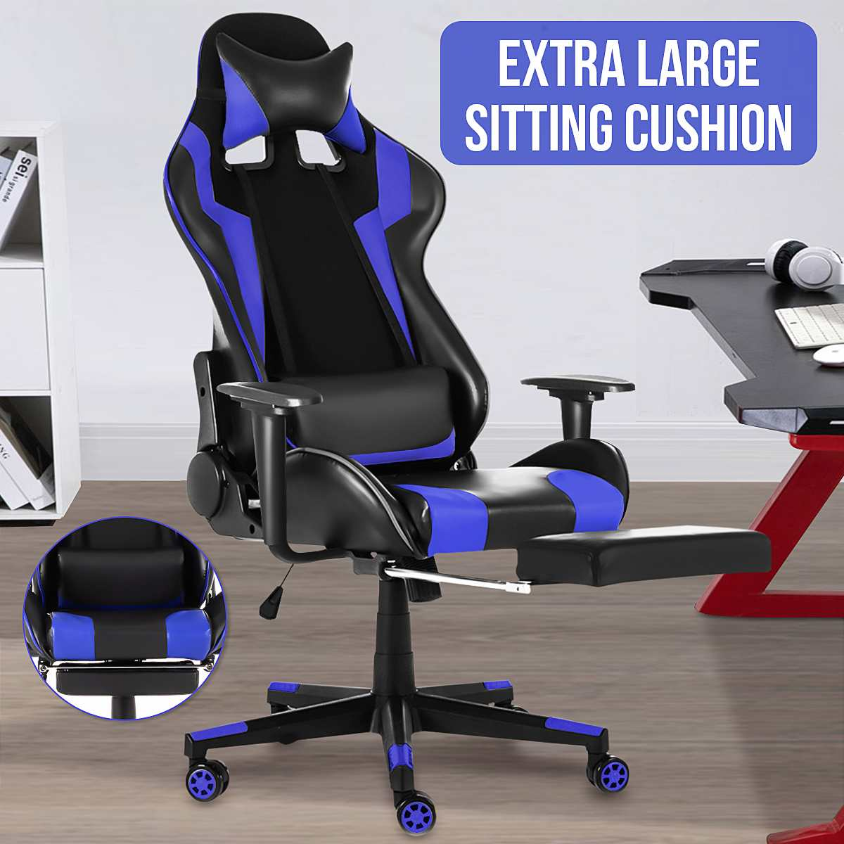H74c31aae9ac44e00b5660e91646a457eb - WCG Gaming Chair Computer Armchair Office Chairs Home Swivel Massage Chair Lifting Adjustable Desk Chair Lying Recliner Chair