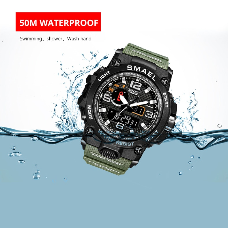H7516ccacb216464b95754439105ce57fP - SMAEL Brand Men Sports Watches Dual Display Analog Digital LED Electronic Quartz Wristwatches Waterproof Swimming Military Watch