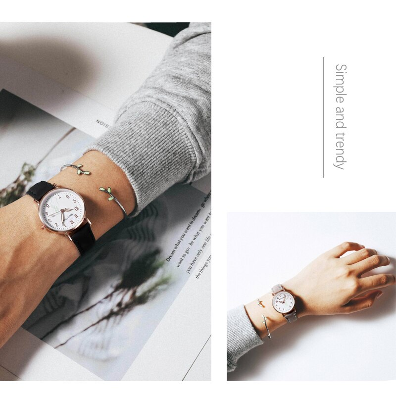 H77465e744ea04f6dba7bc3f0b384a035F - 2021 New Watch Women Fashion Casual Leather Belt Watches Simple Ladies' Small Dial Quartz Clock Dress Female Watch Reloj mujer