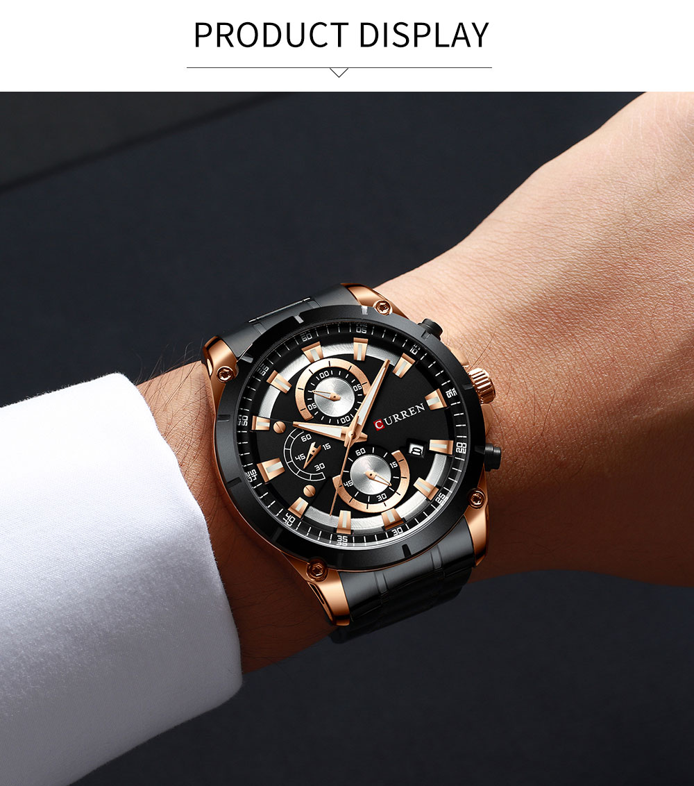 H799bfde1a7bf43ee8208f13879bcf4ea7 - CURREN Top Brand Luxury Men Watches Sporty Stainless Steel Band Chronograph Quartz Wristwatch with Auto Date Relogio Masculino