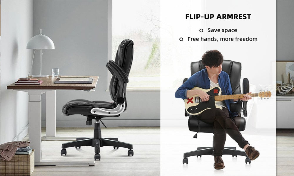 H79ede5b88b1d46e9998d3202c3e58fe8K - YAMASORO Ergonomic Office Chair with Flip up Arms and Wheels Executive Office Desk Chairs Boss Leather Brown Computer Chairs