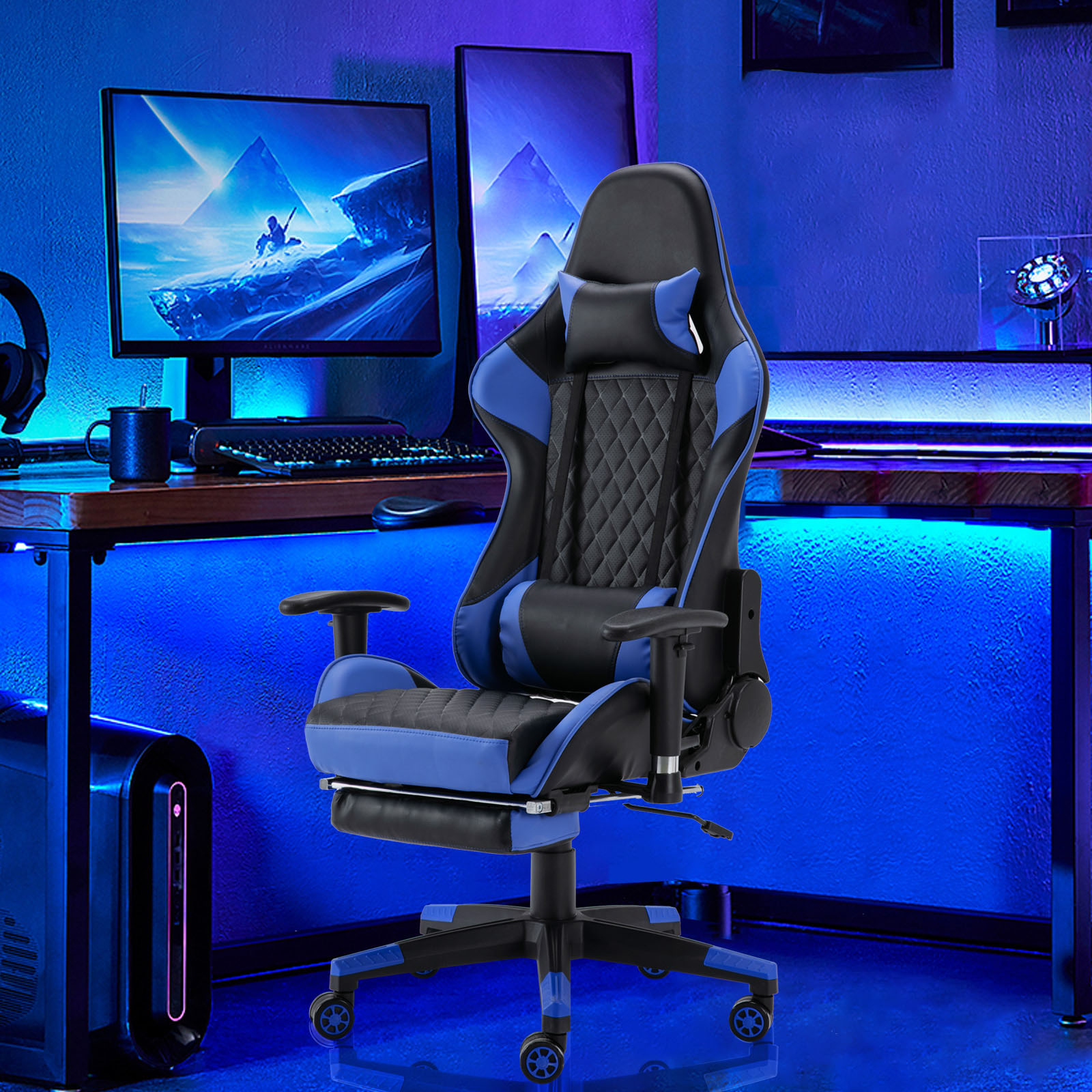 H79fb2214839641aeba1f410084605f1cC - Gaming Chair Computer Armchair Adjustable Armrest And Footrest PVC Household Office Chair Ergonomic Computer Gamer Chair