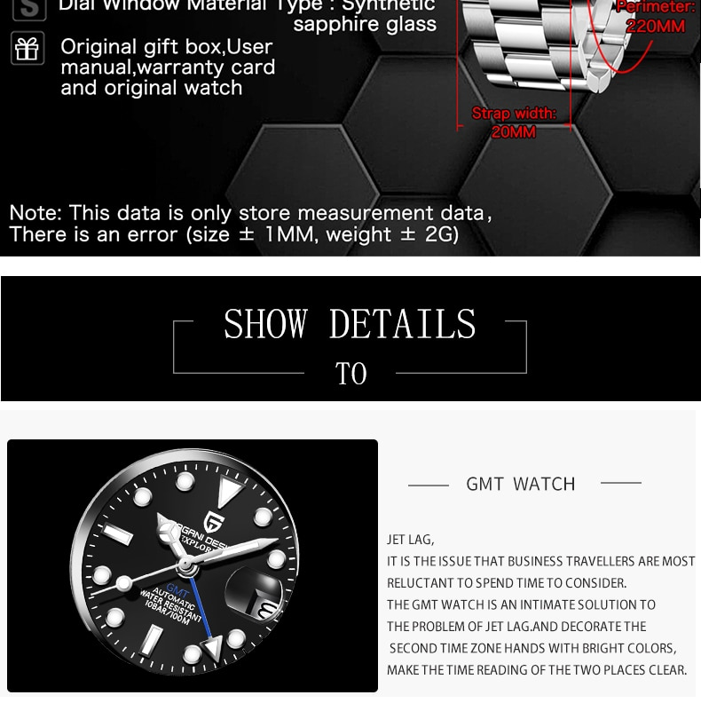 H7a08efb82ace418ea1cbfb5cb7db83bcw - 2021 New Luxury GMT Watch PAGANI DESIGN Men Stainless Steel Automatic Mechanical Watches Sapphire Ceramic Bezel Waterproof Clock