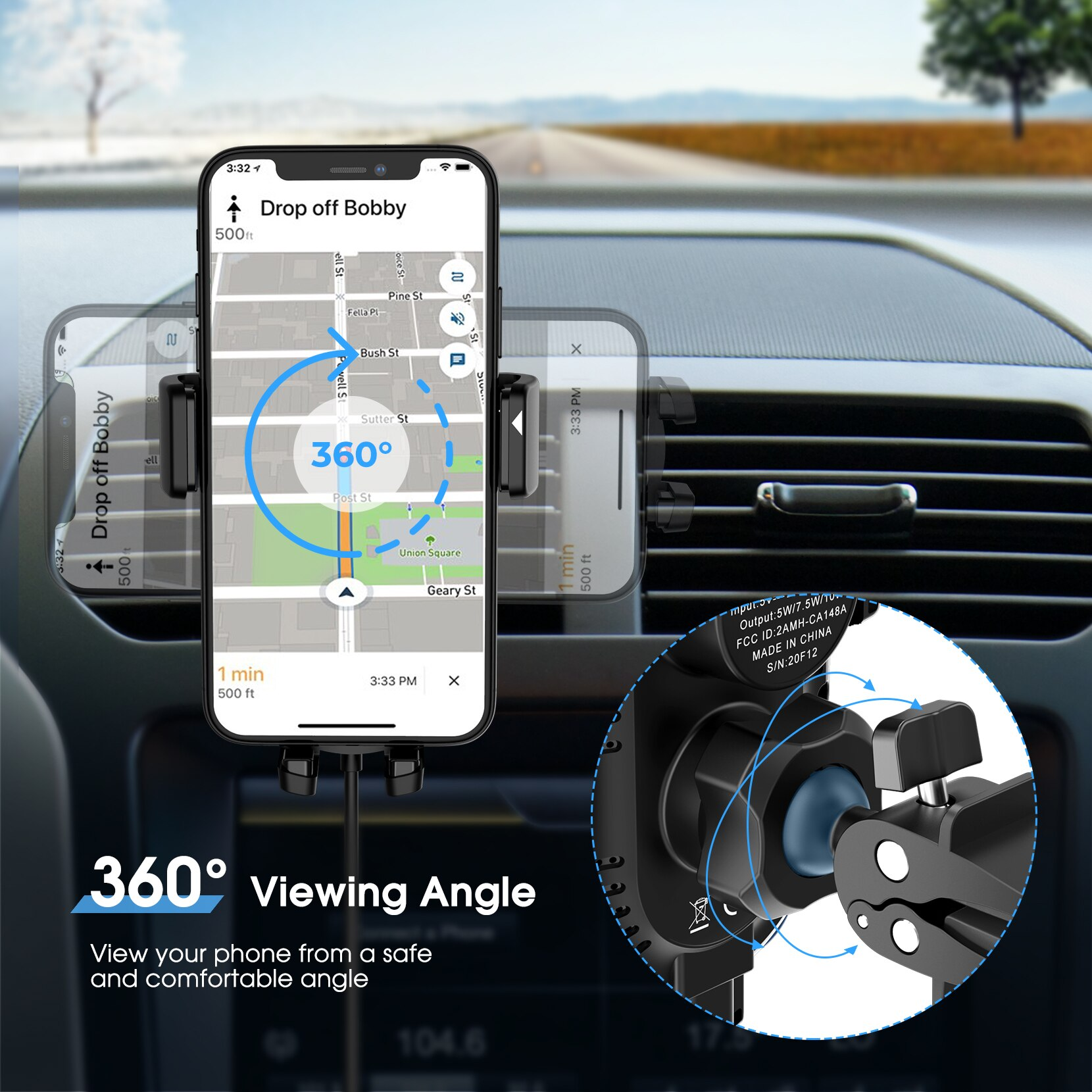 H7b95aa41b1f64b3c99d9f61fcb567af8S - MPOW CA164 Wireless Car Charger 10W Auto-clamping Qi Fast Charging Car Mount with Built-in Battery Cup Holder Vent Phone Holder