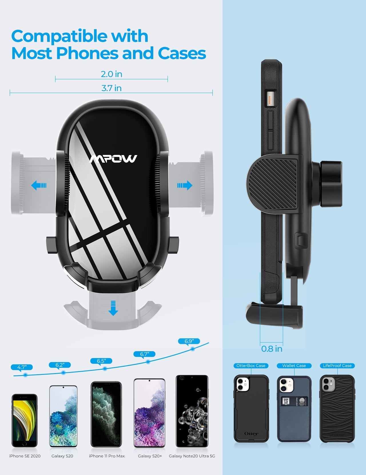 H7bae0f5abe374a74b49559d3252417baF - MPOW CA163 Universal Air Vent Car Phone Mount with Stable Clip and Dual Release Button Compatible with iPhone 12 11 Pro and More