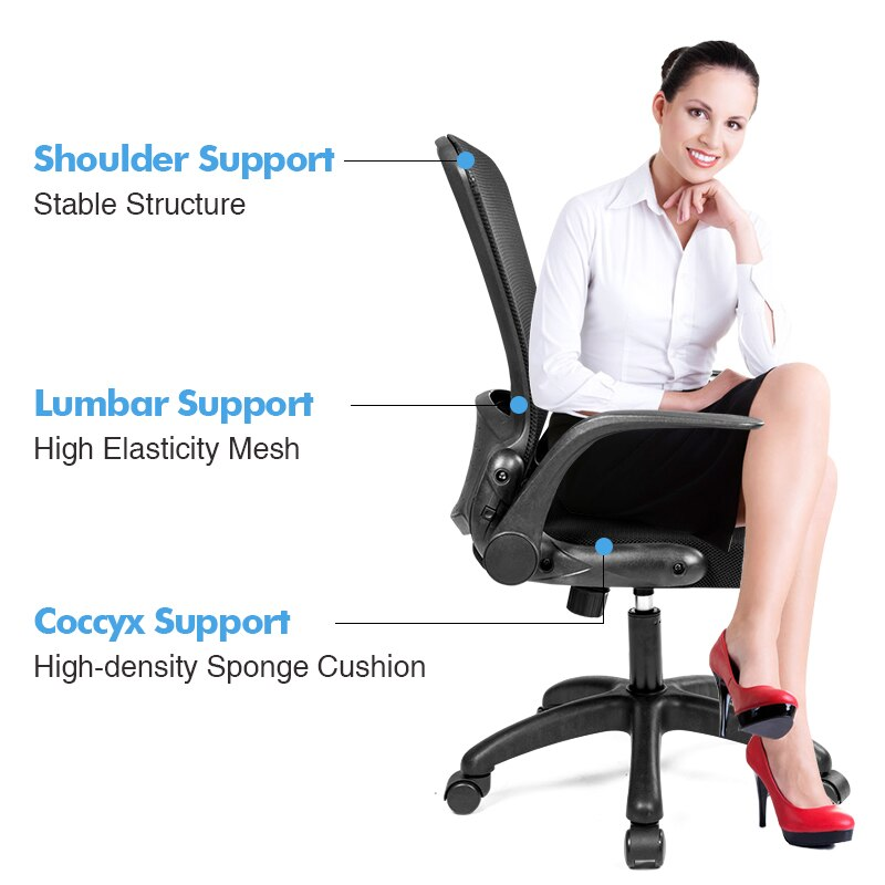 H7df421d223ec44ef98de139483e6518br - Rotating Mesh Chair Breathable Adjustable Height Foldable Computer Chair Ergonomic Executive Black Office Chair Furniture