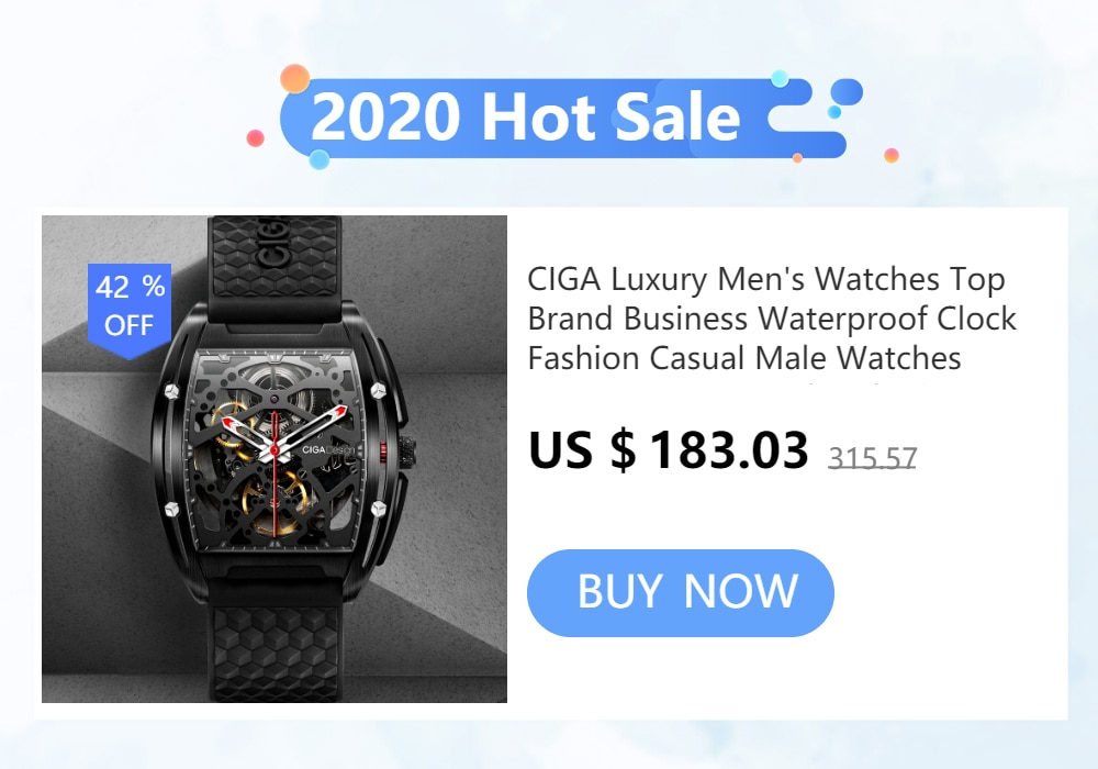 H7e9a86366a9943b0b9b6727beadf32f9m - CIGA Men's Watch 1Pc Sliver Stainless Steel Mesh Mecanico Square Movement Simple Waterproof Black Male Watches Mens relogio