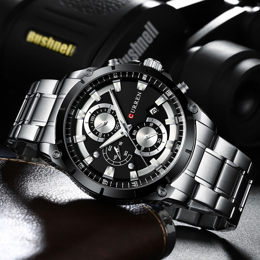 H8375968f5e764bc8bec517130b08b9a30 - CURREN Top Brand Luxury Men Watches Sporty Stainless Steel Band Chronograph Quartz Wristwatch with Auto Date Relogio Masculino