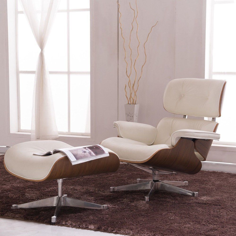 H85013c5733ec4b63abe3646b7bc538b89 - Classic Lounge Chair with Ottoman Leisure Sofa 8 Color Genuine Leather Lounge Chair Alluminum Leg for Living/Bedding/Office Room