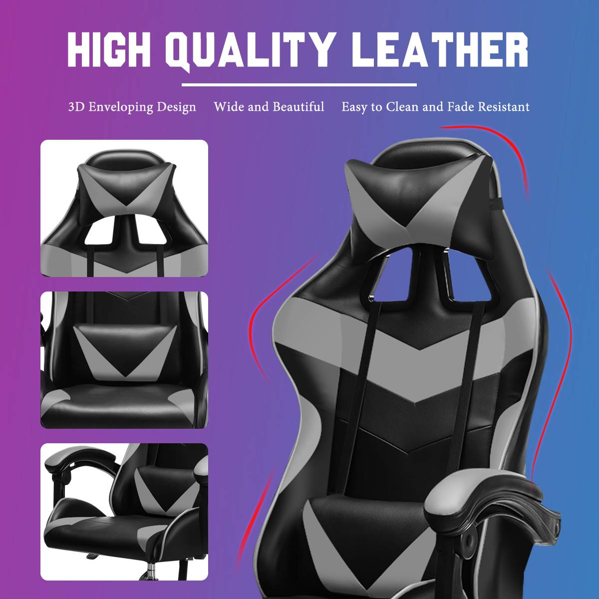 H8573b72dc0654b1a816205148c0eda62s - Adjustable Office Chair Gaming Ergonomic Leather Racing Desk Chairs Gaming Computer Chaise Game Chairs Reclining Seating