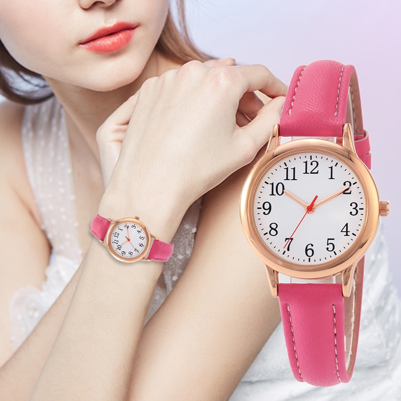 H85a2e35e33a244609b8245163197feda0 - Japanese Movement Women Quartz Watch Easy to Read Arabic Numerals Simple Dial PU Leather Strap Lady Candy Color