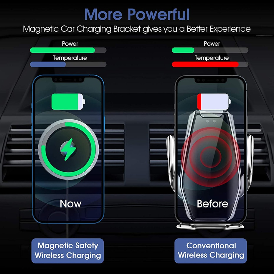 H8691c292ff374c018a928e8c197d945bI - Bonola Qi 15W Wireless Car Charger For iPhone 12/11/8 Plus/Samsung/Xiaomi Car Smart Phone Charging Holder 15W Charger on Car