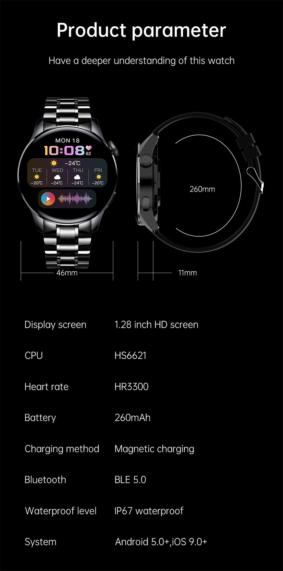 H8703d630bf7844bc953b5cc4f02fcd84H - LIGE New Bluetooth Call Smart watch Men Full touch Screen Sports fitness watch Bluetooth is Suitable For Android ios Smart watch
