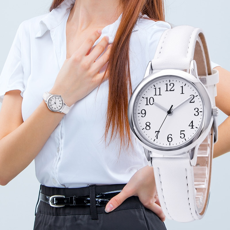 H87720f043cbf412aa7ec55028c8313aeh - Japanese Movement Women Quartz Watch Easy to Read Arabic Numerals Simple Dial PU Leather Strap Lady Candy Color