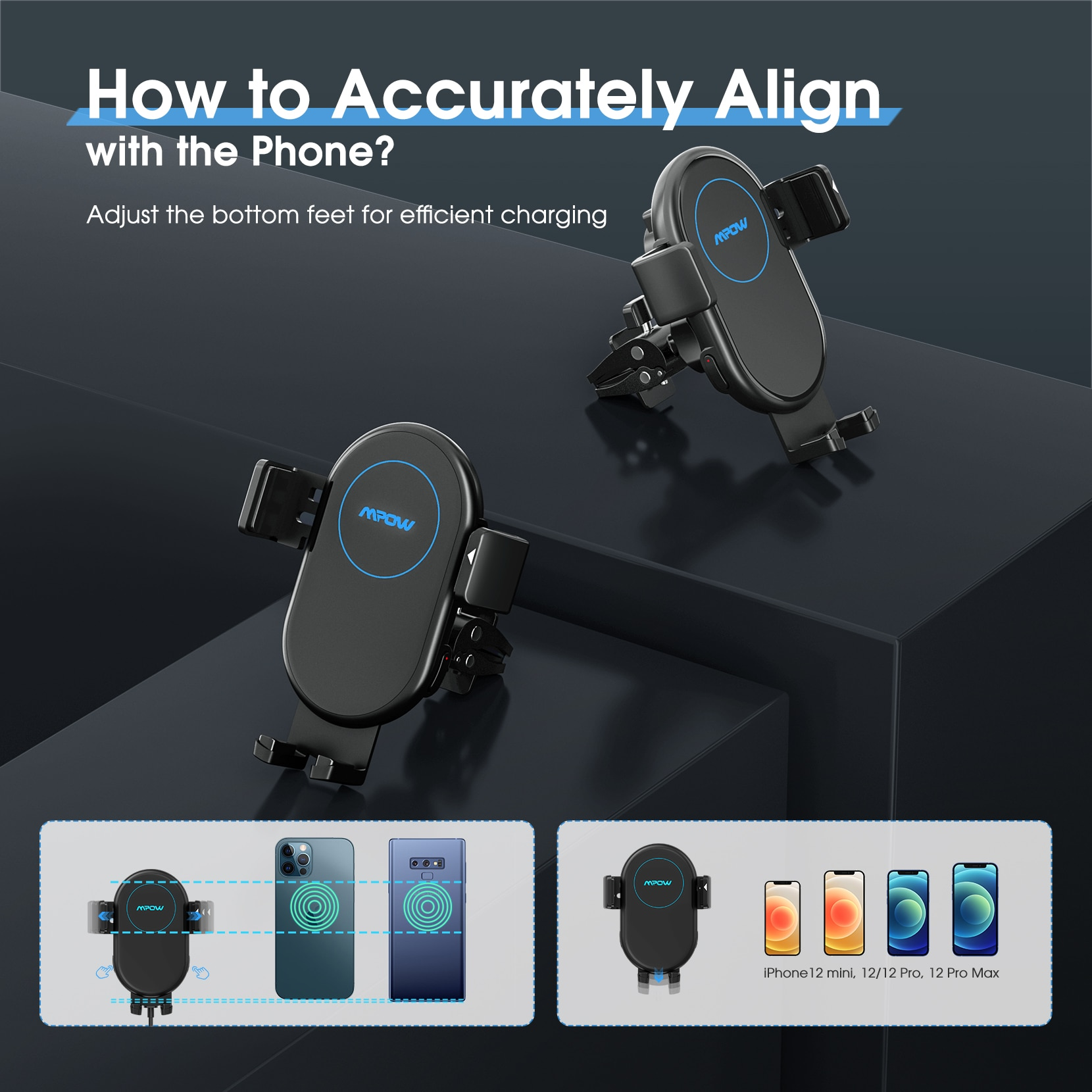 H8802d3f727fa4e1bb3e4feddbd186234t - Mpow Wireless Car Charger Mount 10W Auto-clamping Qi Fast Charging Car Mount with Power Storage Car Phone Holder for iPhone 12