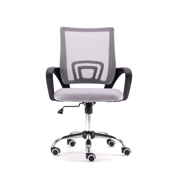H89072a7121d049dd8b921c6eabeab8a72 - Mesh Back Office Chair Gas Lift Adjustable Height Swivel Chair Durable Plastic Armrests White&Black[US-Stock]