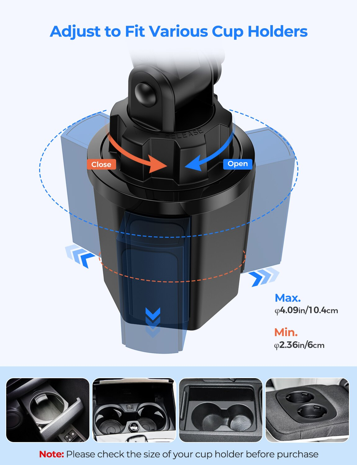 H89d526e1c1f040ada62c43b9d66c6977X - MPOW CA158 Phone Mount Adjustable Cup Holder Car Mount with Long Gooseneck 360 Degrees Rotation Compatible with iPhone Galaxy