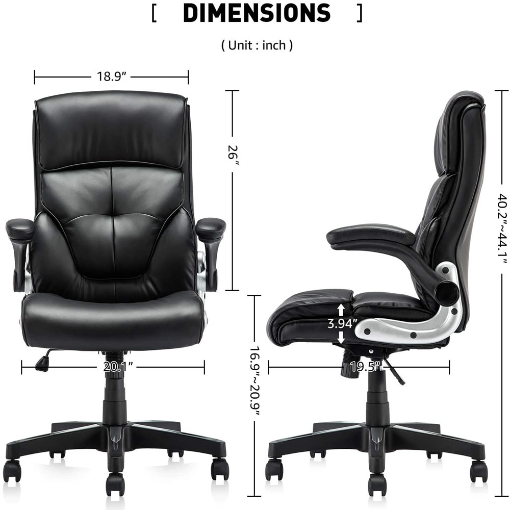 H8a424ff655e44112b7e1bcdf002563e3j - YAMASORO Ergonomic Office Chair Black Leather Computer Desk Chair High-Back Comfort Gaming Chair with Flip-Up Arms for man women