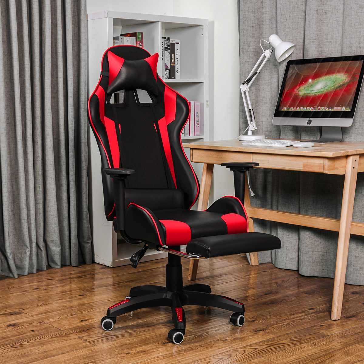 H8a84129a6beb45fb9d7dde3a0dc2bfcdN - 155° Gaming Chairs with Footrest Ergonomic Office Chair Adjustable Swivel Leather High Back Computer Desk Chair with Headrest
