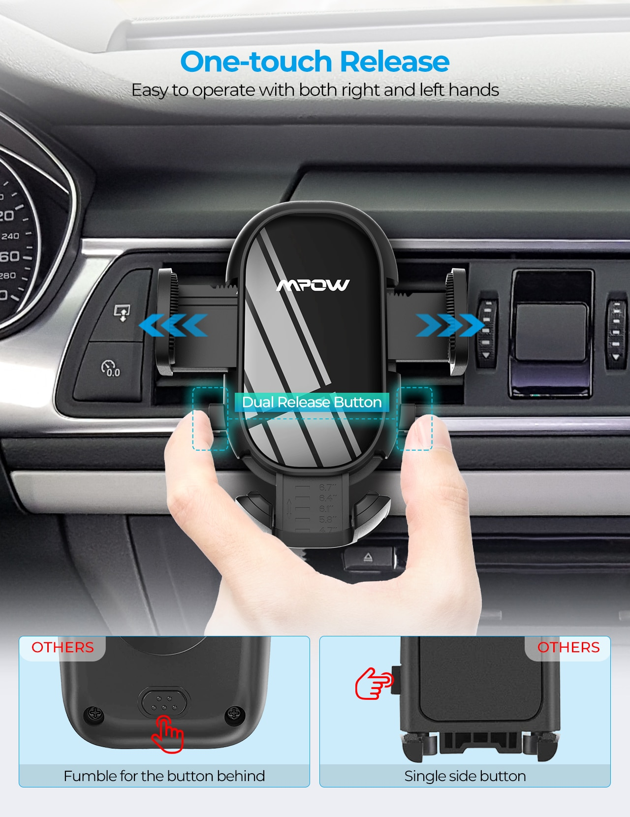 H8b8e92842e8e4643a56313c7e5a663c2D - MPOW CA163 Universal Air Vent Car Phone Mount with Stable Clip and Dual Release Button Compatible with iPhone 12 11 Pro and More
