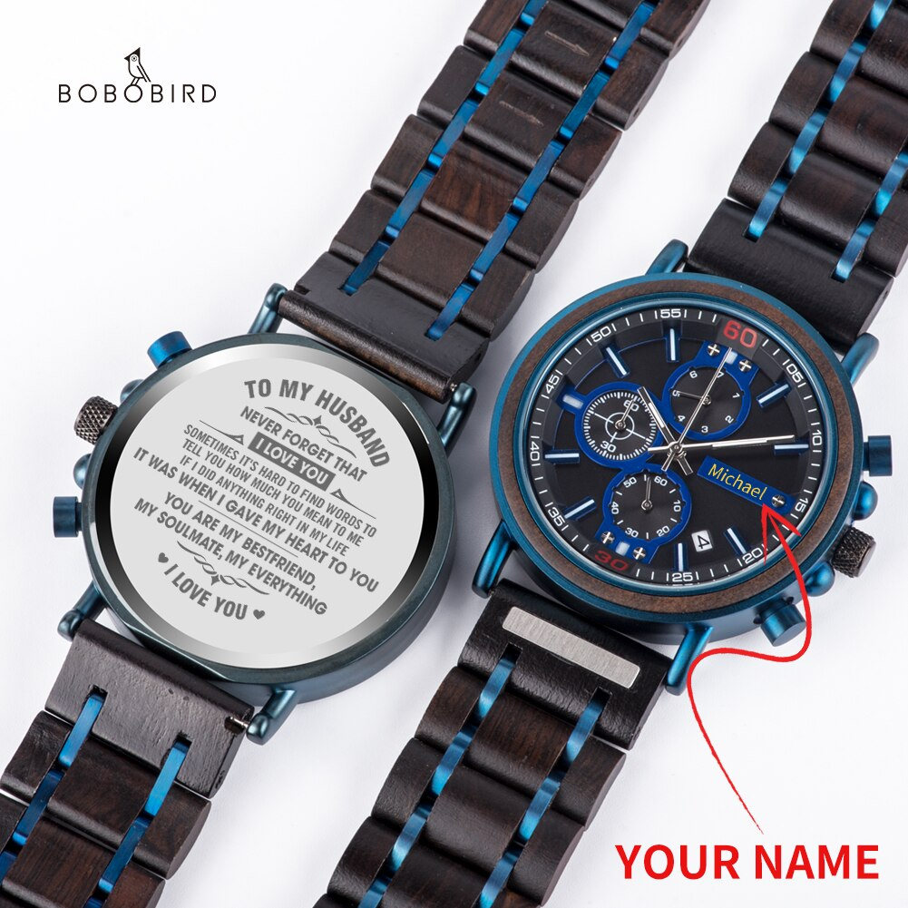H8c417322a83e48b7904b4e63c14e6542F - BOBOBIRD Customized Wooden Watch Engrave Your Personalized Logo On The Back Dial With Wood Box Boyfriend Gifts relogio masculino