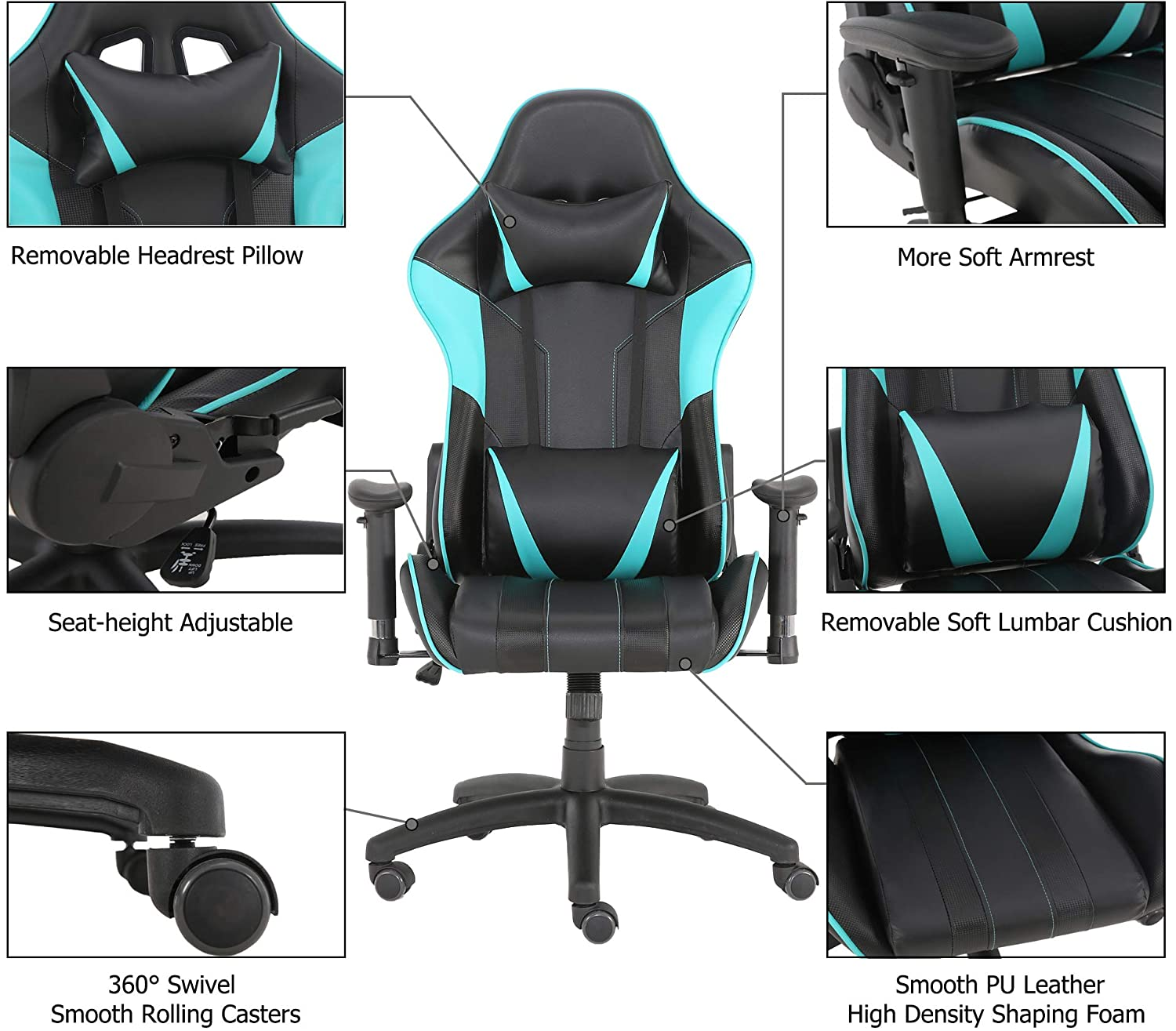H8c50a96e006f4403ade8048899924cabL - Racer Gaming Office Chairs 180 Degree Spin Lounger Computer Chair,Comfortable Armchair Executive Computer Seat,PU Leather