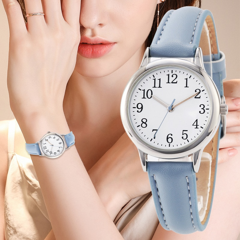 H8c6eb553706c487f9e3ef51149d17234e - Japanese Movement Women Quartz Watch Easy to Read Arabic Numerals Simple Dial PU Leather Strap Lady Candy Color