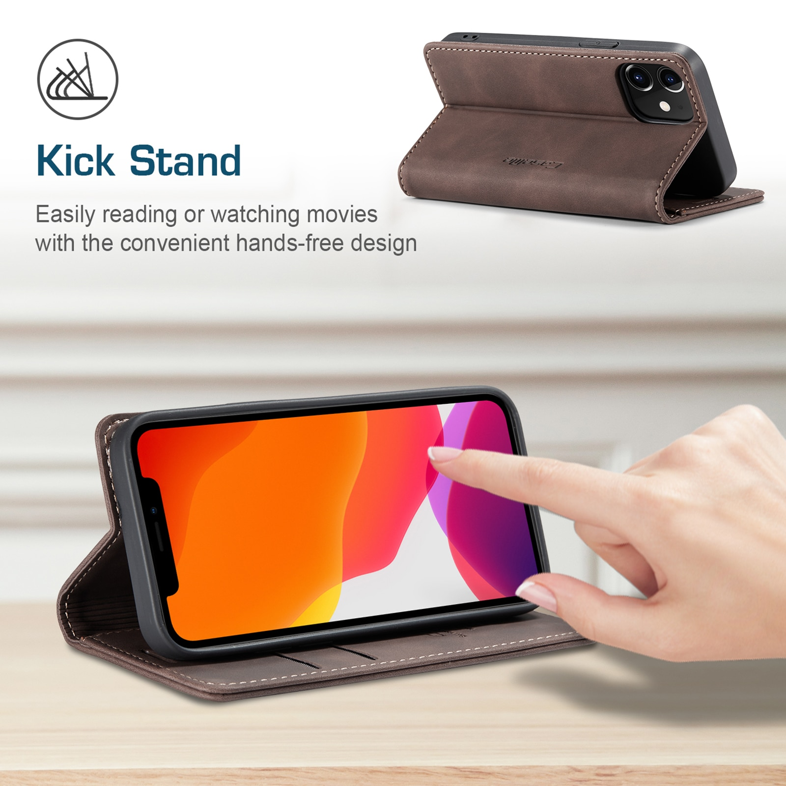 H8c87554c9d42470f9cf6410827d724aaE - Magnetic Leather Flip Case For iPhone 12 / Pro / Pro Max PU Leather Fitted Bumper Soft Retro Flip Case Book Wallet Cover