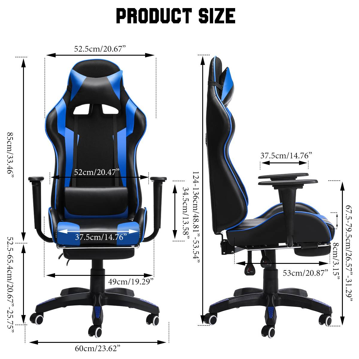 H903bfa58e14540e0b5bd4664a9ba5e37E - 155° Gaming Chairs with Footrest Ergonomic Office Chair Adjustable Swivel Leather High Back Computer Desk Chair with Headrest