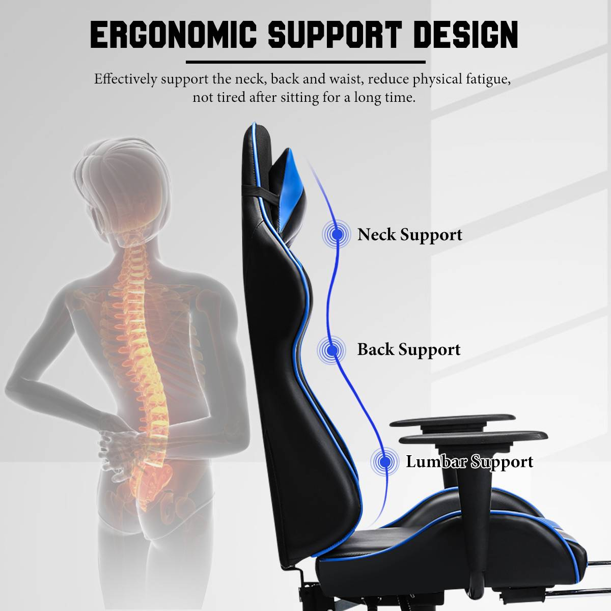 H90bb9ffa9f5f4091baef31b0687328cf0 - 155° Gaming Chairs with Footrest Ergonomic Office Chair Adjustable Swivel Leather High Back Computer Desk Chair with Headrest