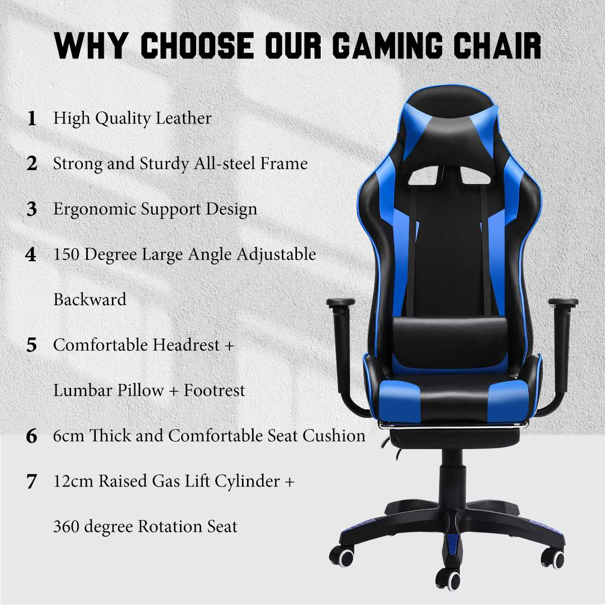 H90c40f364dce46a8a20e6ebc81beffe1h - 155° Gaming Chairs with Footrest Ergonomic Office Chair Adjustable Swivel Leather High Back Computer Desk Chair with Headrest