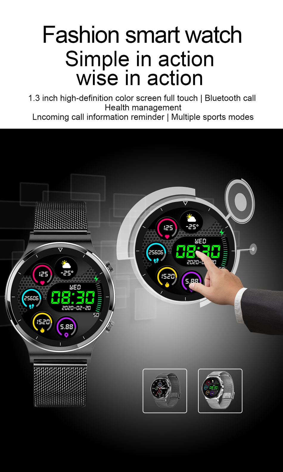 H91a2a355c8c84d2eb399a86e0bb21263d - LIGE New Smart watch Men Heart rate Blood pressure Full touch screen sports Fitness watch Bluetooth for Android iOS smart watch