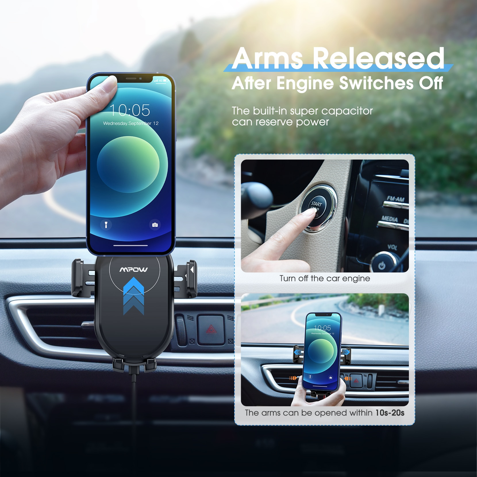 H91ad6ab97d114c6db4082558994f680a6 - Mpow Wireless Car Charger Mount 10W Auto-clamping Qi Fast Charging Car Mount with Power Storage Car Phone Holder for iPhone 12