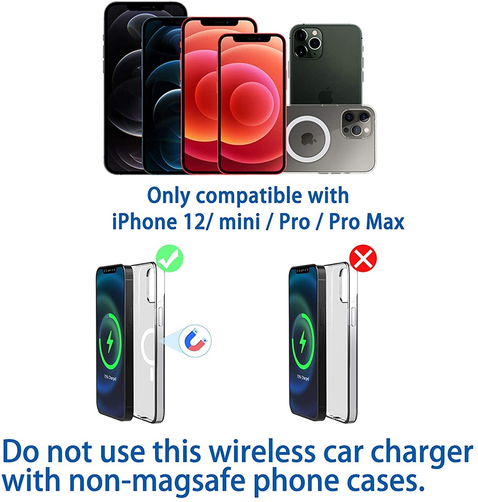 H928db8106b5e43f293bec703edb95bd7D - Fivetech 15W Fast Car Wireless Charger For iPhone 12 Pro Max/12 Mini Strong Magnetic Car Charging Stand Car Phone Holder