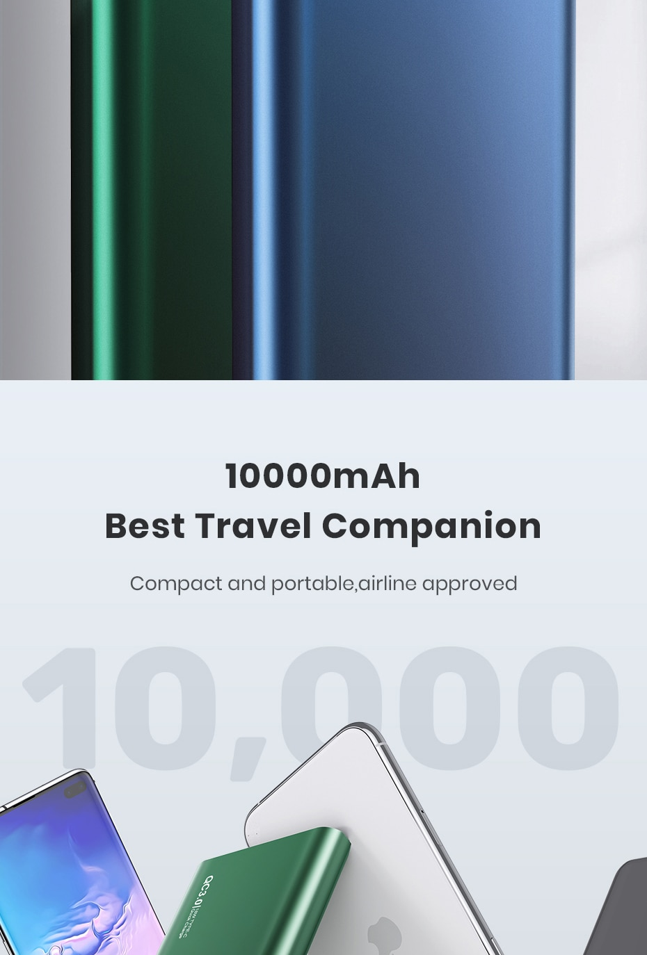 H93cda0bd56f742e6979311a0d9872478e - TOPK I1006P Power Bank 10000mAh Portable Charger LED External Battery PowerBank PD Two-way Fast Charging PoverBank for Xiaomi mi