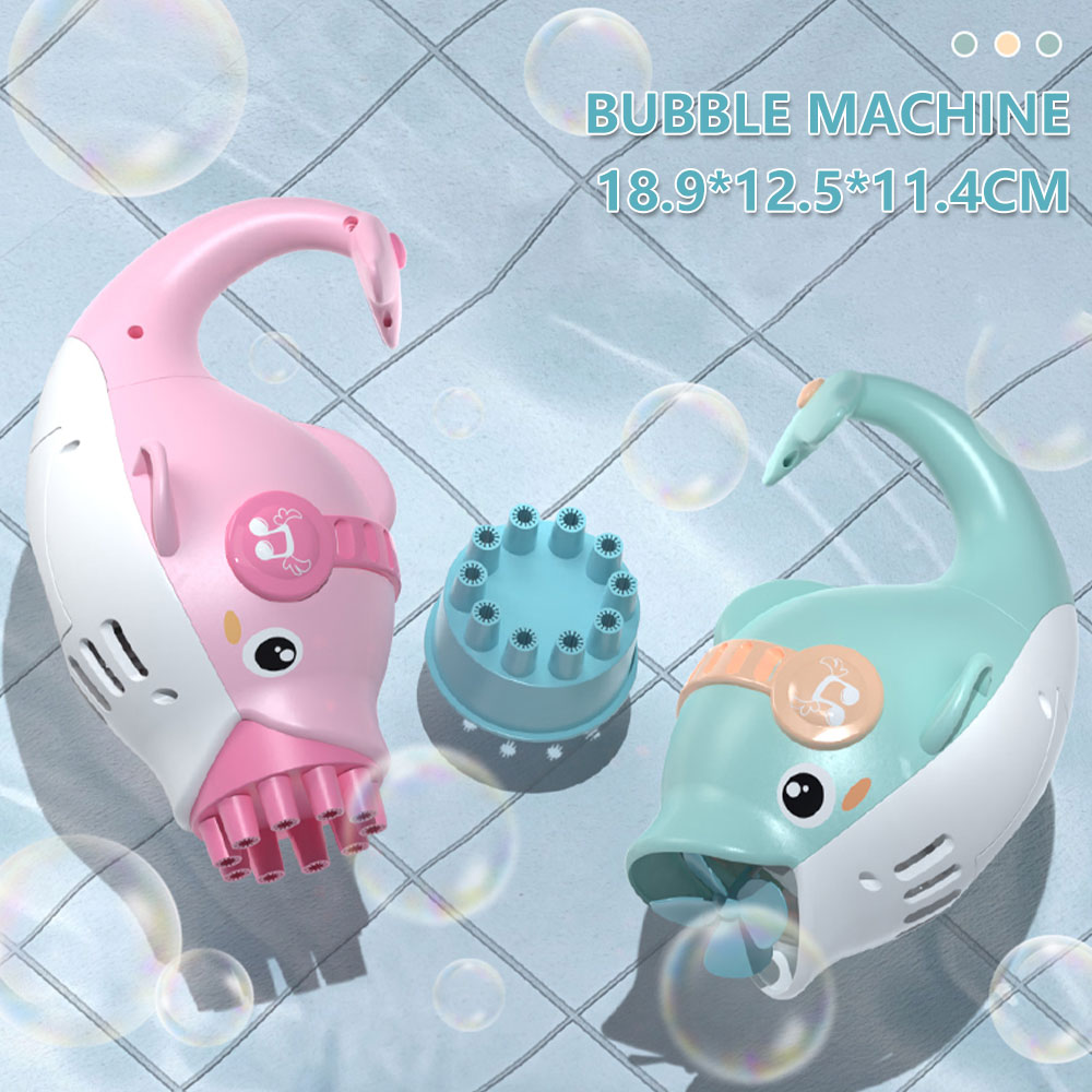 H953e4b391b054626b7353800fd3a4c2aC - Dolphin Gatling Bubble Gun Machine Electric Automatic Soap Blower Maker Summer Swimming Toy