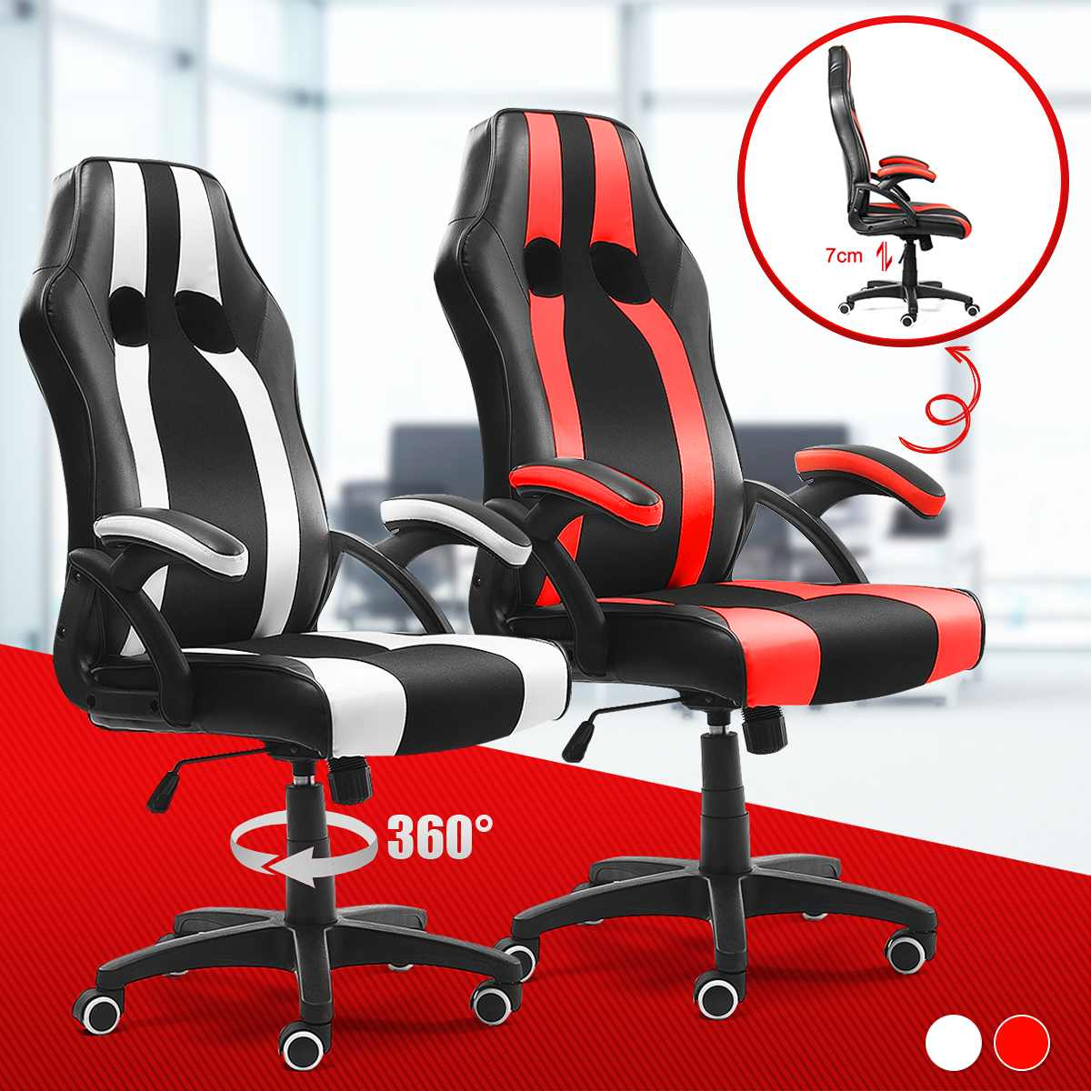 H957314422170403fb27f252285c3fdaeQ - WCG Gaming Chair Computer Armchair Office Chairs Home Swivel Massage Chair Lifting Adjustable Desk Chair Lying Recliner Chair