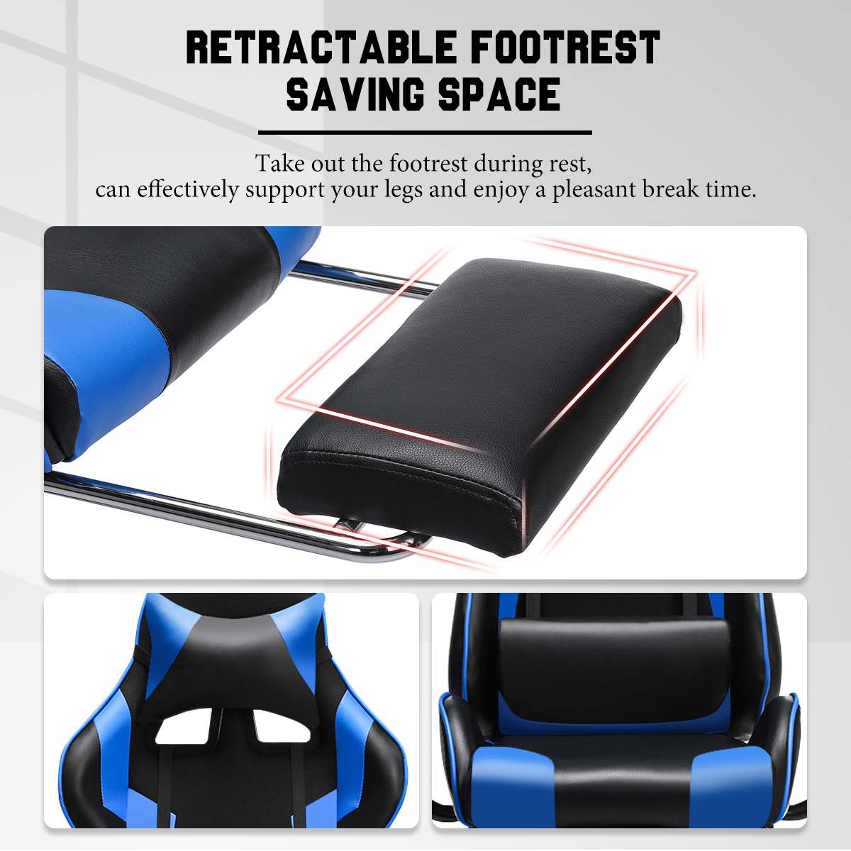 H95ee7091b0cb4d6e9d7504e7c80ea233k - 155° Gaming Chairs with Footrest Ergonomic Office Chair Adjustable Swivel Leather High Back Computer Desk Chair with Headrest