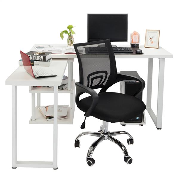 H96f30b3488b24834b1eedfd07ca290beP - Mesh Back Office Chair Gas Lift Adjustable Height Swivel Chair Durable Plastic Armrests White&Black[US-Stock]
