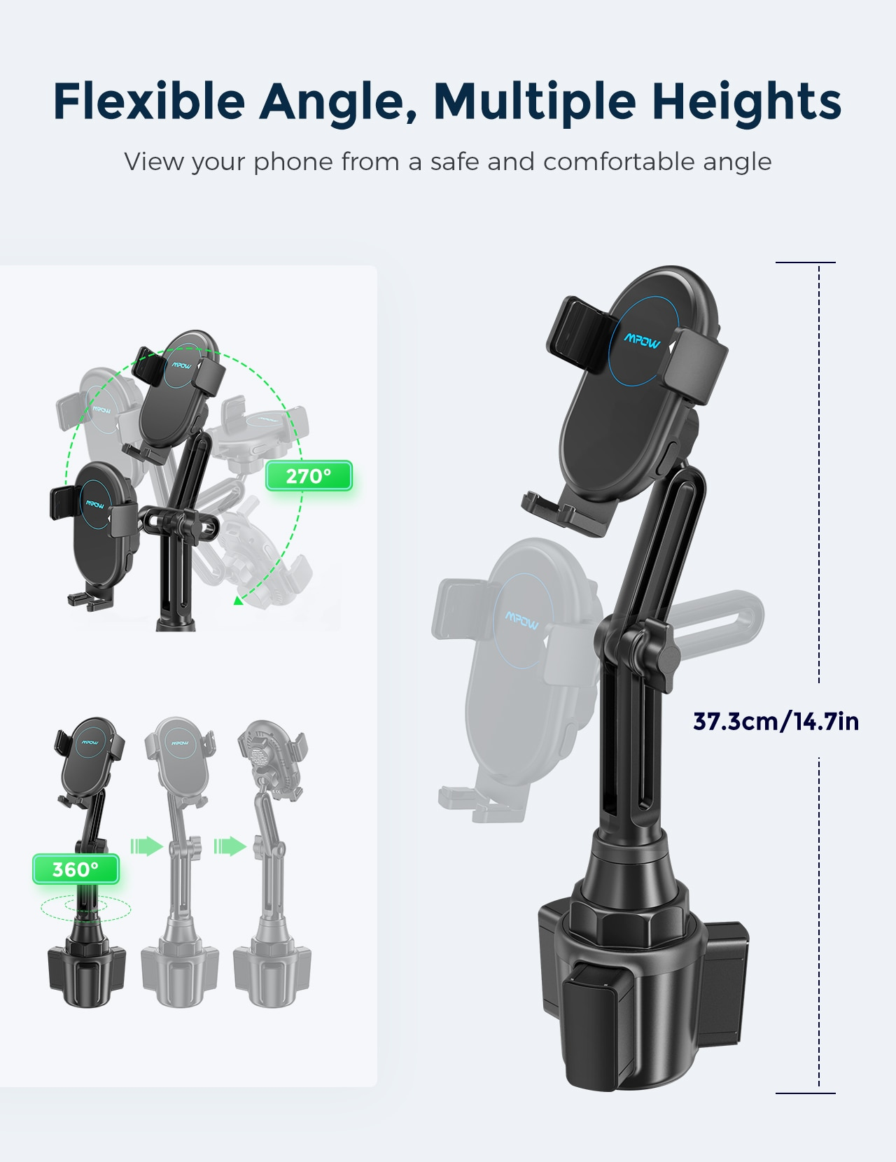 H97ff4c3c8a5b4b838d11e1c94be7a8deW - MPOW CA160 Wireless Car Charger 15W Auto-clamping Qi Fast Charging Car Mount with Built-in Battery Cup Holder Vent Phone Holder